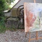 Peinture de Martine Malherbe dans le jardin des sœurs de Nevers.