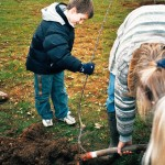 Plantation des arbres du verger de Fontaine par les enfants des écoles de Fontaine (2004)