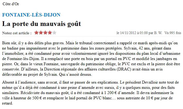 Sanction pénale dans la ZPPAUP de Fontaine-lès-Dijon (article du Bien Public)