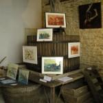 Peintures de Vally exposées sur le pressoir d'une cuverie.